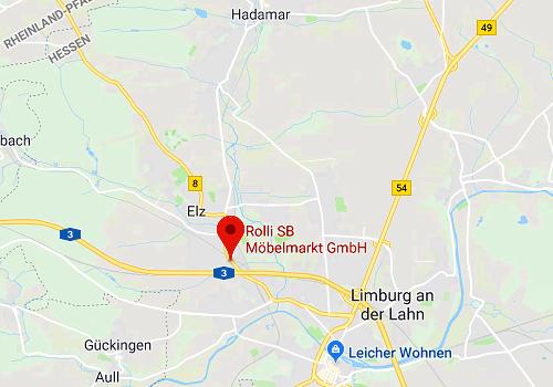 Anfahrt Rolli SB-Küchen- und Möbelmarkt, 65604 Elz / Limburg