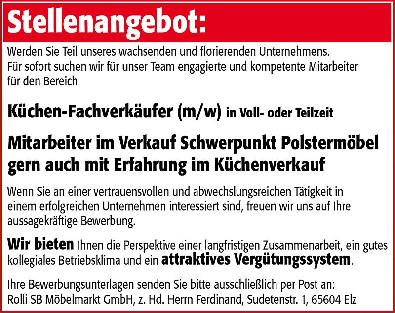 Rolli SB Möbelmarkt Elz Preisbrecher - Aktuelle Stellenangebote